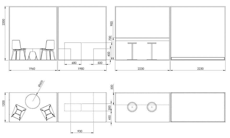 «Bokser»/møteplasser i vinduet mot Torvgaten / Arkitekturgata. Tegning: Henriksen snekkeri
