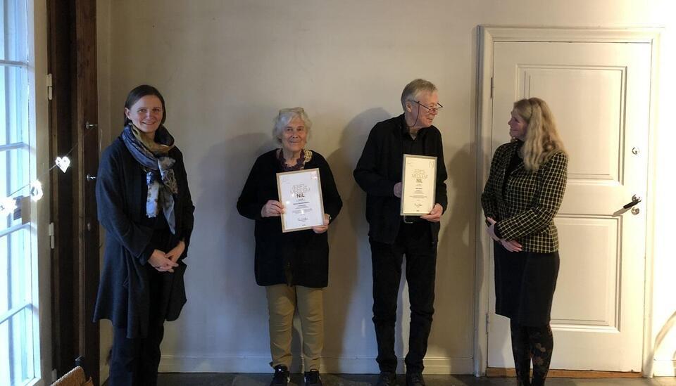 Nye æresmedlemmer i NIL 2020: Gunvor Øverland Bergan og Peter Opsvik. Diplomseremoni 16. desember 2020.