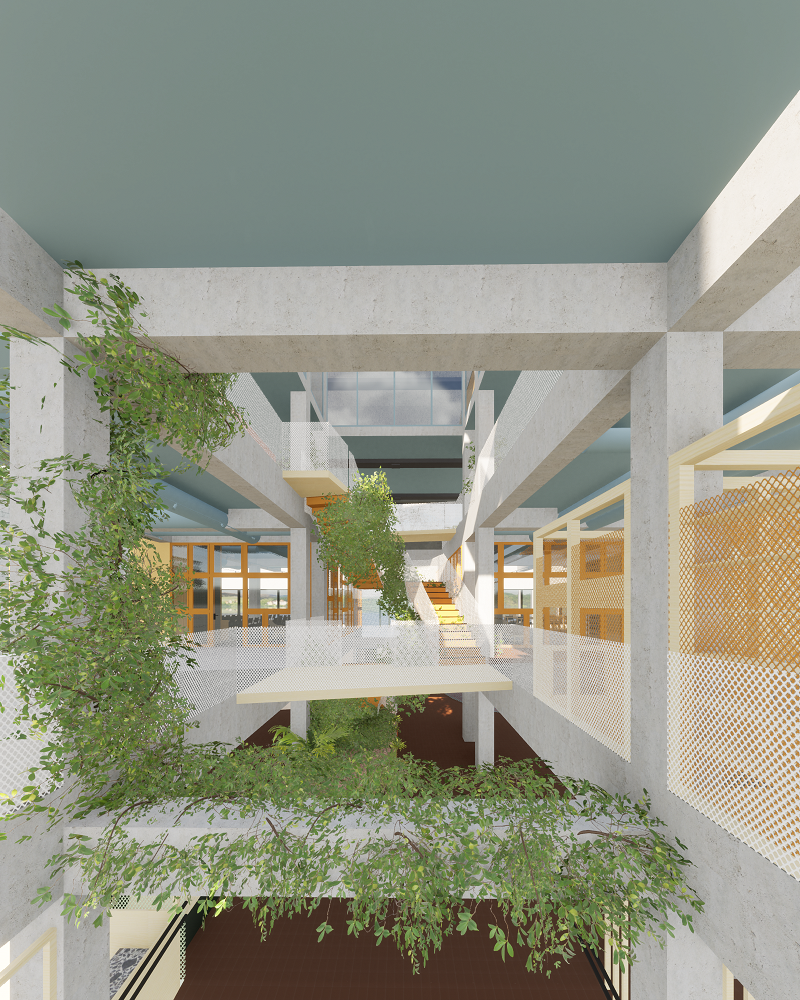 Masterprosjektet Forbli viser mulighetene for ny bruk av et bygg fra 1969. Bygget ble underveis i masterprosjektet revet på grunn av utfordringer under rehabiliteringen. Illustrasjoner: Karoline Skytterholm Gullaksen